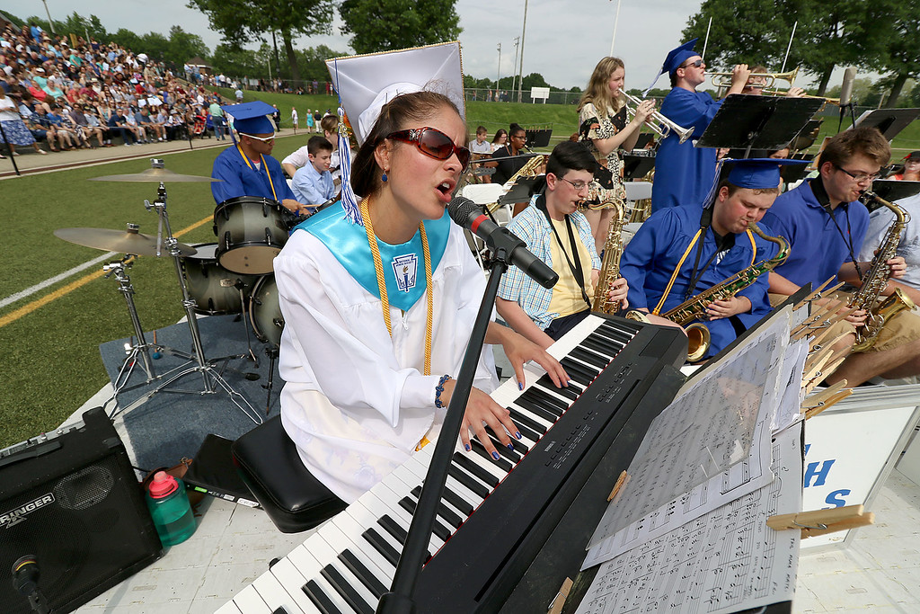 . Leominster high School class of 2018 held their 148th commencement on Saturday, June 2, 2018. Singing and playing the keyboard with the LHS Jazz Band is graduate Jesse Blackman. SENTINEL & ENTERPRISE/JOHN LOVE