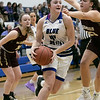 Leominster High School girls basketball played Algonquin Regional High School on Friday night, Jan. 31, 2020.  LHS's #44 Destina VivoAmore drives to the basket while civeerd by ARHS's #23 Danielle Adams. SENTINEL & ENTERPRISE/JOHN LOVE