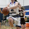 Leominster High School girls basketball played Algonquin Regional High School on Friday night, Jan. 31, 2020.  LHS's #44 Destina VivoAmore drives to the basket. SENTINEL & ENTERPRISE/JOHN LOVE