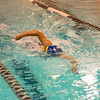 Leominster's Gabby Grimley qualifies for states during the swim meet against Gardner at the Fitchburg State University Recreation Center on Thursday afternoon. SENTINEL & ENTERPRISE / Ashley Green