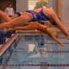 Leominster's Alice Loucroft competes in the swim meet against Gardner at the Fitchburg State University Recreation Center on Thursday afternoon. SENTINEL & ENTERPRISE / Ashley Green
