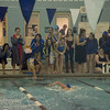 Leominster teammates cheer on Gabby Grimley as she qualifying for states during the swim meet against Gardner at the Fitchburg State University Recreation Center on Thursday afternoon. SENTINEL & ENTERPRISE / Ashley Green