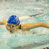 Leominster's Jordan Stanley competes in the swim meet against Gardner at the Fitchburg State University Recreation Center on Thursday afternoon. SENTINEL & ENTERPRISE / Ashley Green