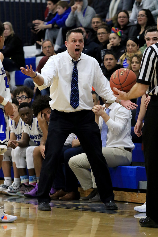 . Leominster High School basketball played Westborough High School on Tuesday night at home. LHS\'s head coach Kevin Grutchfield didn\'t like a call during the game. SENTINEL & ENTERPRISE/JOHN LOVE