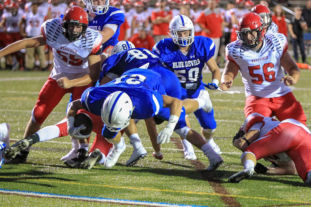 . Leominsters Adam Couch goes in head first for the 1st TD of the game as Leominster hosted Westfield on Friday, Sept. 14, 2018. Westfield rallied for a 29-28 victory.  SENTINEL&ENTERPRISE/Scott LaPrade