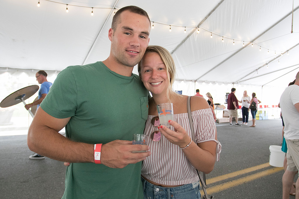 . The annual Leominster Johnny Appleseed Craft Beer Festival was held Saturday, August 3, 2019. They had around 40 venders at the event with many of their beers. Enjoying themselves at the festival is Ray Bell and Morgan Button from Grafton. SENTINEL & ENTERPRISE/JOHN LOVE