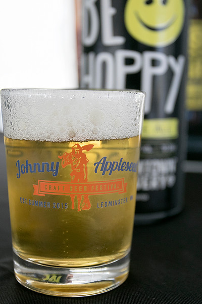 The annual Leominster Johnny Appleseed Craft Beer Festival was held Saturday, August 3, 2019. They had around 40 venders at the event with many of their beers. They gave out small shot glasses for tasting the beer during the event. This shot holds the Be Hoppy India pale Ale from Wormtown Brewery. SENTINEL & ENTERPRISE/JOHN LOVE