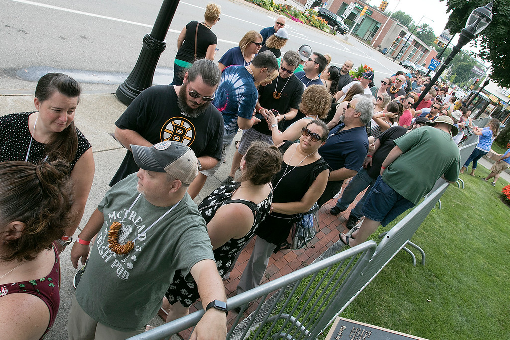 . The annual Leominster Johnny Appleseed Craft Beer Festival was held Saturday, August 3, 2019. They had around 40 venders at the event with many of their beers. Beer drinkers lined up and wait for the gate to open for the festival to start. SENTINEL & ENTERPRISE/JOHN LOVE