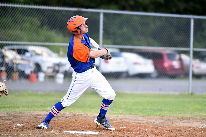 Mason Nickoloff of Leominster Legion Baseball hits a pop fly to center in a game on Monday against Framingham post 74.  SENTINEL & ENTERPRISE JEFF PORTER