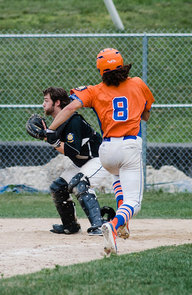 Leominster American Legion Post 151's Dom Fusco scores a run during the game against East Side on Thursday, July 6, 2017. SENTINEL & ENTERPRISE / Ashley Green