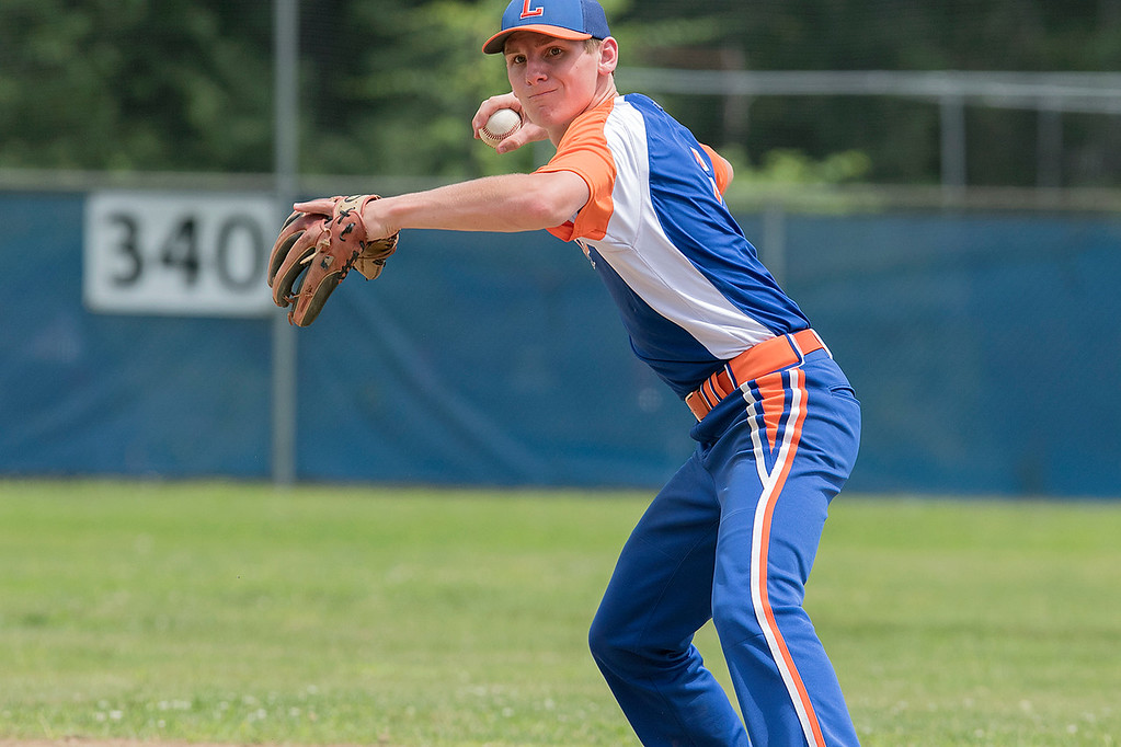 . Leominster American Legion Post 151 Baseball played Northbridge Post 343 on Saturday, June 29, 2019.  Leominster\'s Matt Dupuis gets ready to throw the ball to first for an out after picking up a ground ball to him. SENTINEL & ENTERPRISE/JOHN LOVE