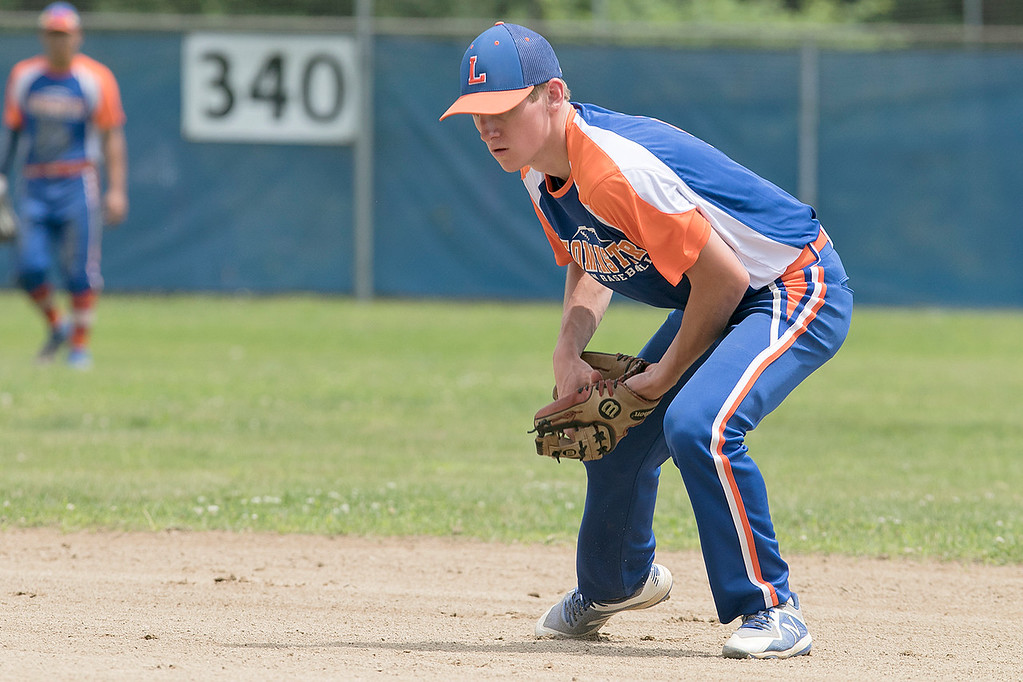 . Leominster American Legion Post 151 Baseball played Northbridge Post 343 on Saturday, June 29, 2019.  Leominster\'s Matt Dupuis picks up a ground ball to him. SENTINEL & ENTERPRISE/JOHN LOVE