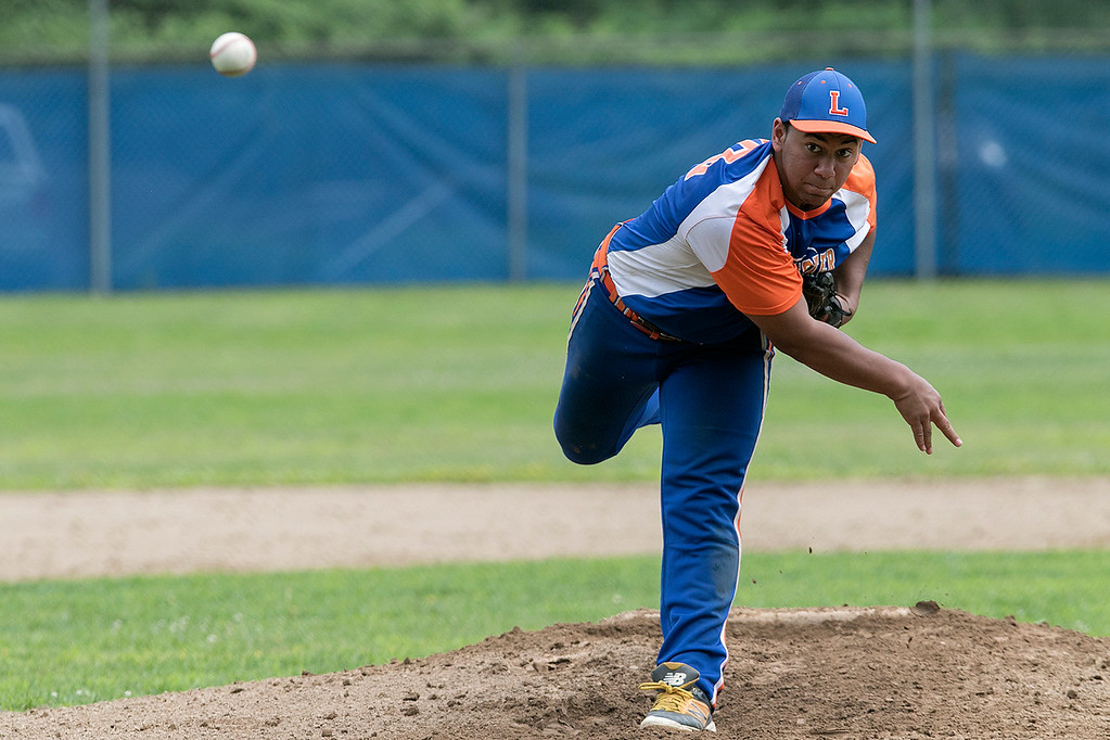 . Leominster American Legion Post 151 Baseball played Northbridge Post 343 on Saturday, June 29, 2019. Leominster pitcher Brandon Sullivan delivers a pitch early in the game. SENTINEL & ENTERPRISE/JOHN LOVE