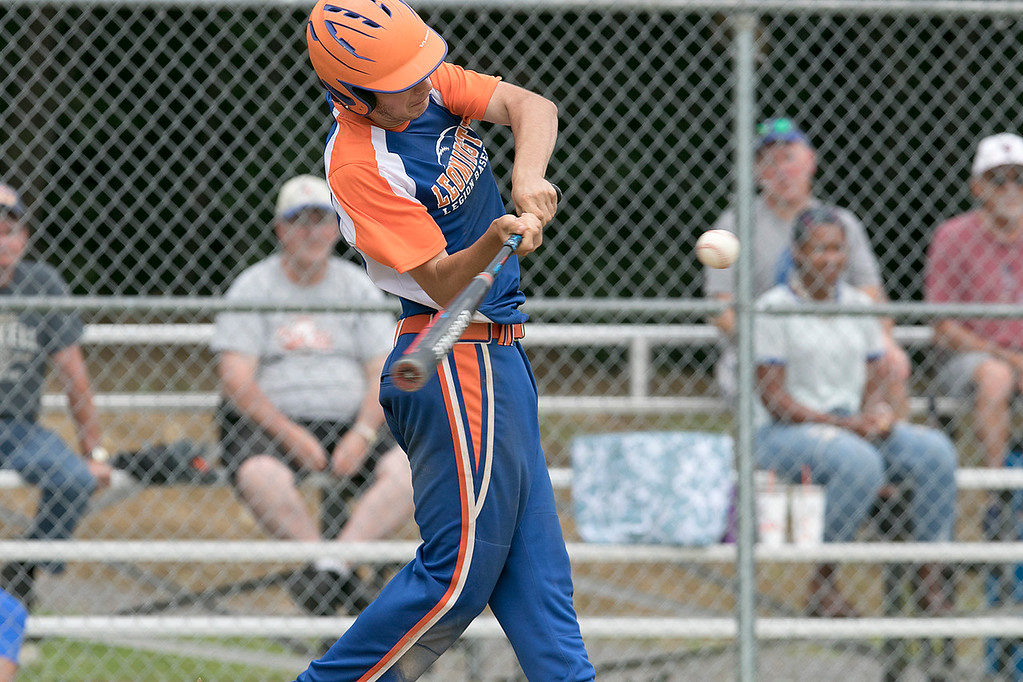 . Leominster American Legion Post 151 Baseball played Northbridge Post 343 on Saturday, June 29, 2019.  Leominster\'s Liam McNiff swings at a pitch. SENTINEL & ENTERPRISE/JOHN LOVE