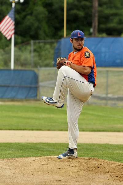 Leominster's David Neuhaus pitches against North County during an American Legion baseball game at McLaughlin Park in Leominster on Friday, July 1, 2016. SENTINEL & ENTERPRISE / SCOTT LAPRADE