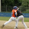 Legions Cooper Bigelow safe after dropping a ground ball also drving in a run