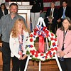 John & Pauline Roberge along with Clare M. Freda with the Ceremonial Wreath during the Memorial Day Ceremonies.   Sentinel & Enterprise/ Jim Fay