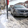 The City of Leominster is looking into changing the storm parking ban law. These care where parked on Main Street. SENTINEL & ENTERPRISE/JOHN LOVE