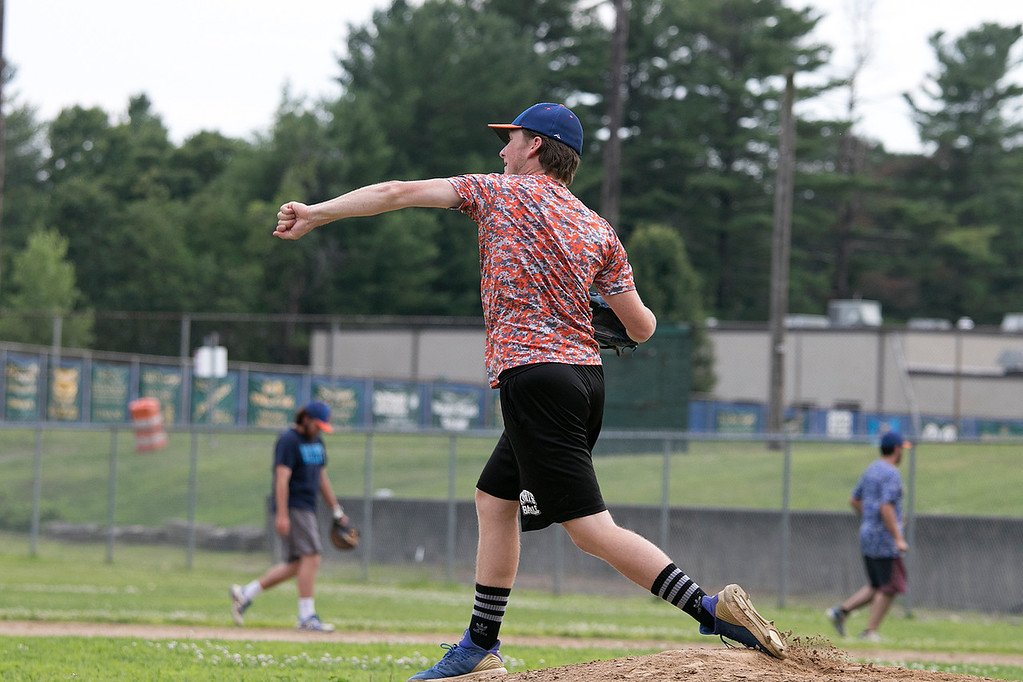 . Leominster Legion Post 151 baseball opens playoffs on Wednesday. They held their last practice on Tuesday at their field at McLaughlin Park. Pitcher Alan Hyatt works on throwing to second from the mound during the practice. SENTINEL & ENTERPRISE/JOHN LOVE