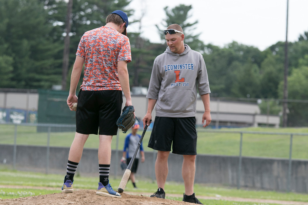 . Leominster Legion Post 151 baseball opens playoffs on Wednesday. They held their last practice on Tuesday at their field at McLaughlin Park. Pitcher Alan Hyatt gets some pointers from coach Dylan Poulin as he works on throwing to second from the mound during the practice. SENTINEL & ENTERPRISE/JOHN LOVE