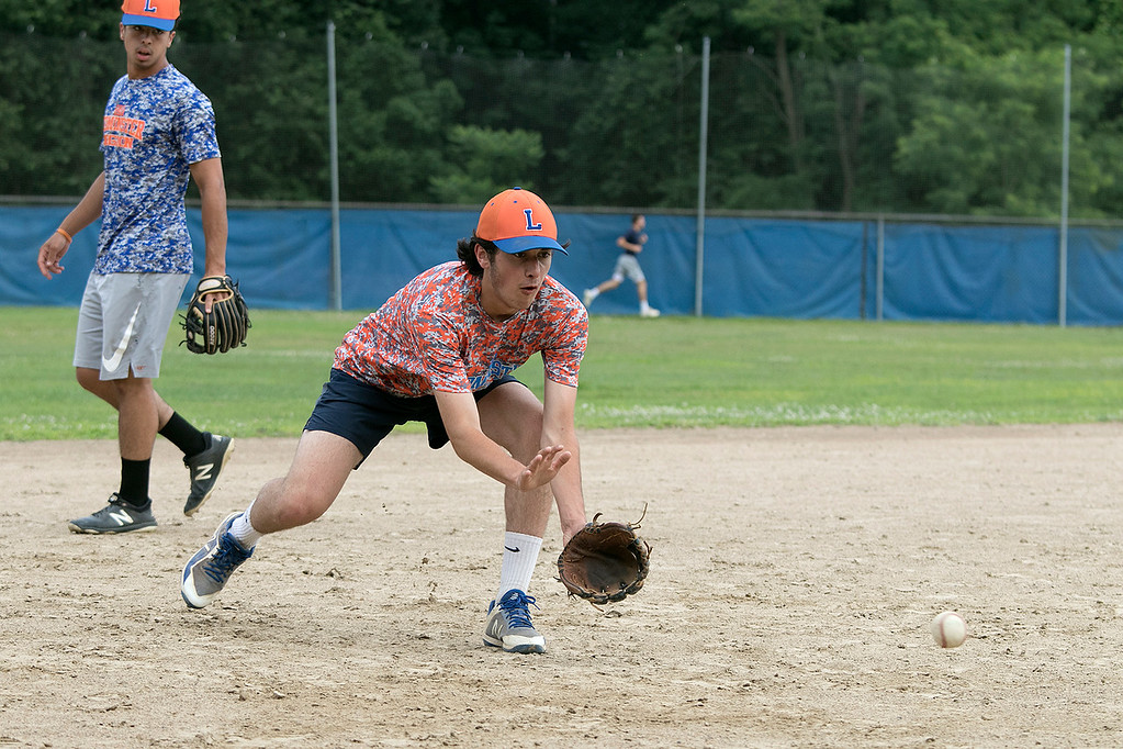 . Leominster Legion Post 151 baseball opens playoffs on Wednesday. They held their last practice on Tuesday at their field at McLaughlin Park. Liam McNiff works on getting ground balls at third base during the practice. SENTINEL & ENTERPRISE/JOHN LOVE