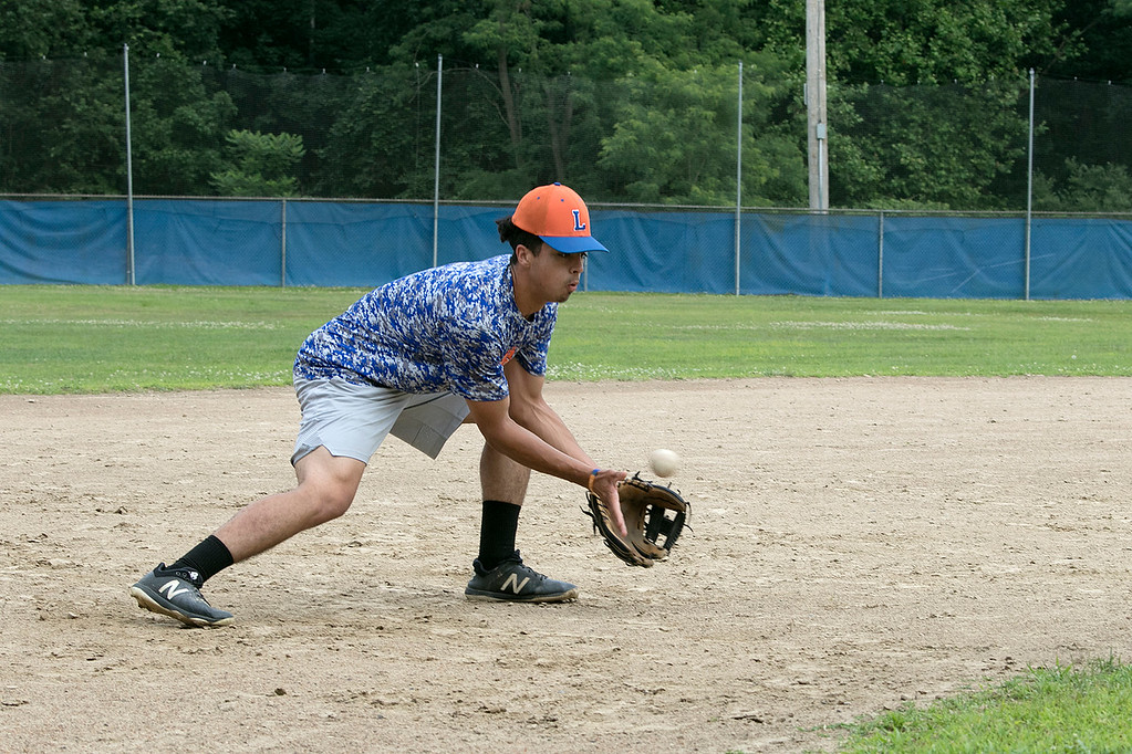 . Leominster Legion Post 151 baseball opens playoffs on Wednesday. They held their last practice on Tuesday at their field at McLaughlin Park. Anthony Sliverio works on getting ground balls at third base during the practice. SENTINEL & ENTERPRISE/JOHN LOVE