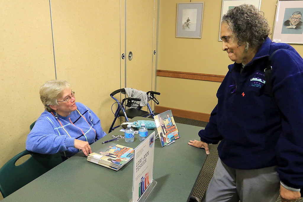 . The Leominster Public Library held a series of lectures from local authors on Saturday, October 13, 2018. Author Lori-Ann Tessier of That Teacher Uses Crutches! chats with Juanita Fields at the event. SENTINEL & ENTERPRISE/JOHN LOVE