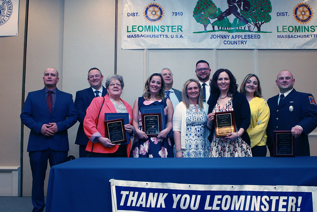 . (From left) The Leominster Rotary Club\'s annual Vocational Awards and Presentation Dinner\'s recognized Leominster\'s Employees of the Year are the DPW\'s Jeremy Babin, the Police Department\'s Sgt. John Fraher, the Library\'s Gary Kendall, the School Department\'s Middle School top employee Sky View Middle School\'s Daniel Nugent, Veterans\' Services Administrative Assistant Jolene Constant, who was named City Hall\'s top employee, the Fire Department\'s Robert DiMarzio, the High School\'s top employee Miriam Sayer, St Leo\'s School\'s Stefania McNamara, St. Anna Catholic School\'s Allyson Plante and Southeast Elementary\'s  Gloria Morales who was the school department\'s grades K-fifth\'s top employee. SENTINEL & ENTERPRISE / VINCENT APOLLONIO