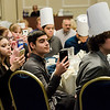 Student of Chef David Sweeny, of Appleseed's Restaurant at Leominstet CTEi,  show their support as he receives Leominster High School Employee of the Year during the Leominster Rotary Club's 23rd Annual Vocational Awards Dinner at the DoubleTree by Hilton Hotel in Leominster on Wednesday, March 20, 2017. SENTINEL & ENTERPRISE / Ashley Green