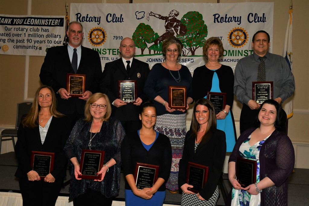 . The 2018 Leominster Employees of the Year are (front row from left): Kelly Vallee, Police Department; Linda Rossi, City Hall; Kelly Bernard, School Department Pre-K-5th grade; Katelyn Henrie, School Department Middle School; and Bonnie Hunter, St. Leo Catholic School; and (back row from left) Daryl Robichaud, School Department High School; Jeremy Murphy, Fire Department; Christine Saladini, St. Anna Catholic School; Nancy Tourigny, Public Library; and Mark Piermarini, Department of Public Works. SENTINEL & ENTERPRISE / JIM FAY