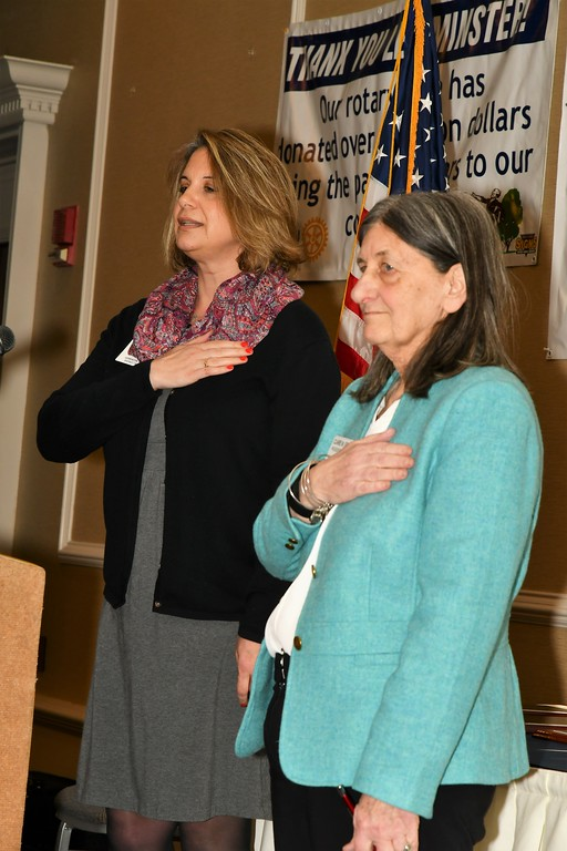 . Mary Dean, treasurer of the Leominster Rotary Club and the Rotary\'s Event Chairperson  Claire Freda at the start of the club\'s annual awards night. Jim Fay / Sentinel & Enterprise