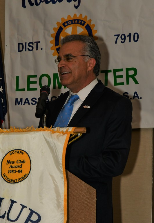. Mayor Dean Mazzarella at the Leominster Rotary Club\'s awards dinner on Wednesday night. Jim Fay / Sentinel & Enterprise