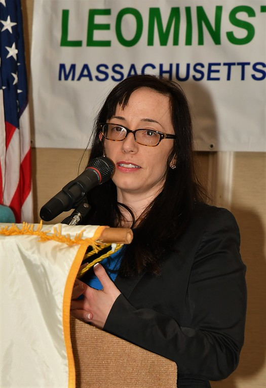 . Leominster Rotary Club President  Jennifer Stacy during the club\'s awards dinner on Wednesday at the DoubleTree. Jim Fay / Sentinel & Enterprise