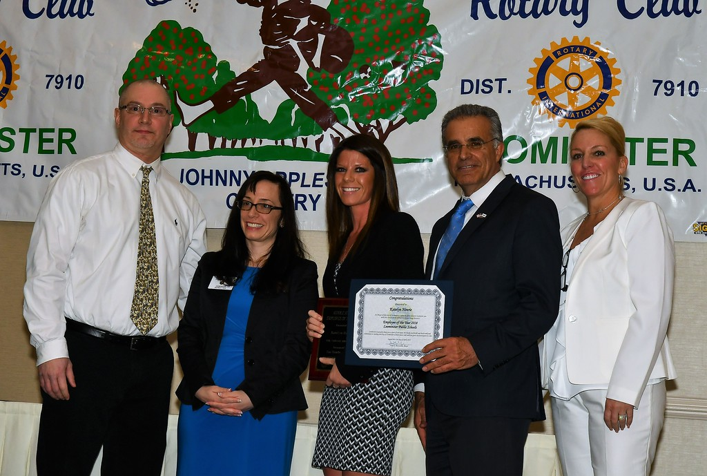 . Samoset Middle School Assistant Principal Oliver Nelson, Rotary President Jennifer Stacy stand with Katelyn Henrie, Mayor Dean Mazzarella and District Superintendent Paula Deacon. Jim Fay / Sentinel & Enterprise