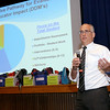 The Leominster School Department held an all district faculty function kicking off the new school year at the Leominster High School auditorium on Tuesday morning. Superintendent James R Jolicoeur addresses the crowd at the function. SENTINEL & ENTERPRISE/JOHN LOVE