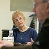 The Leominster Senior Center holds a writing class every Friday afternoon from 1 p.m. to 3 p.m. run by Jane Lonnqvist of Fitchburg. Lonnqvist listens to writer Ron Smith of Leominster as he reads his story during class on Friday, Dec. 27, 2019. SENTINEL & ENTERPRISE/JOHN LOVE