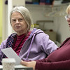 The Leominster Senior Center holds a writing class every Friday afternoon from 1 p.m. to 3 p.m. run by Jane Lonnqvist of Fitchburg. Mariel Tyler of Fitchburg listens to fellow writer Christine Maynard of Leominster as she reads her story at their class on Friday, Dec. 27, 2019. SENTINEL & ENTERPRISE/JOHN LOVE