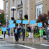 Many supports held signs out in front of leominster City Hall just before the debate with political newcomer Natalie Higgins and City Councilor Richard Marchand on Tuesday night. SENTINEL & ENTERPRISE/JOHN LOVE