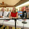 From left is Mickey Guzman with the Spanish American Center in Leominster, Realtor Leslie Storrs and Sentinel & Enterprise City Editor Cliff Clark the panel that asked all of the questions at the debate between City Councilor Richard Marchand and Natalie Higgins on Tuesday night at Leominster City Hall. SENTINEL & ENTERPRISE/JOHN LOVE