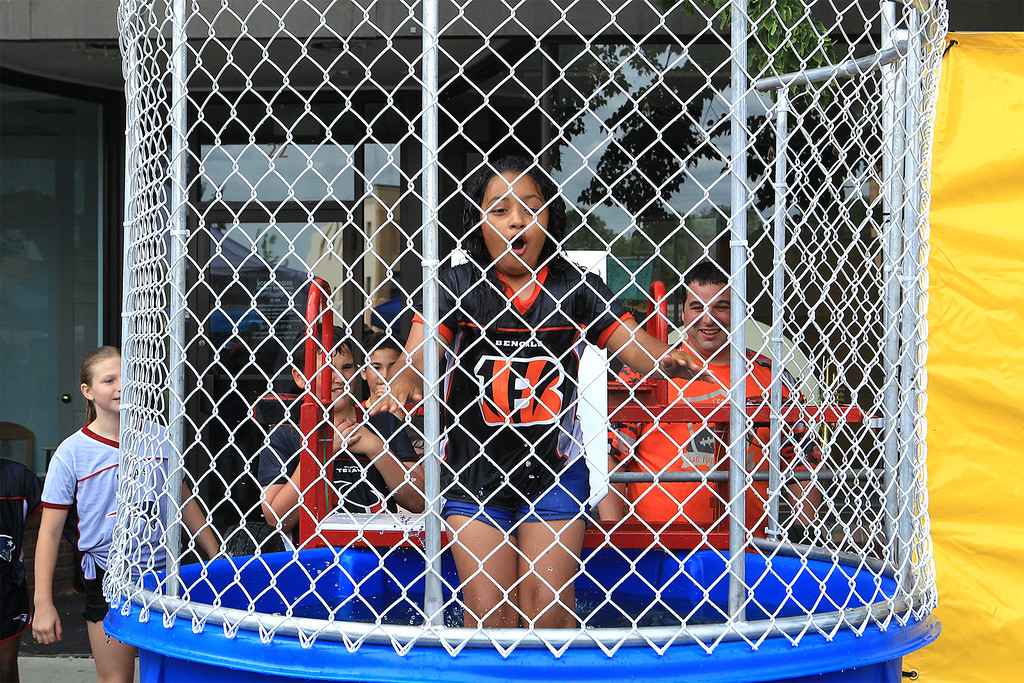 . Jaliany Hiciano 11 from Leominster gets dunked in the dunk tank SENTINEL&ENTERPRISE/Scott LaPrade