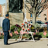 Ryan Voutour and Alex Breindel, USAFR, along with Gold Star Mother Pauline Roberge lay the ceremonial wreath during the Veterans Day ceremonies on Leominster's Monument Square on Friday morning. SENTINEL & ENTERPRISE / Ashley Green