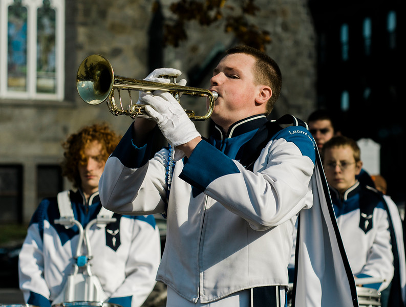 The Leominster High Marching Band plays Taps during the Veterans Day ceremonies on Leominster's Monument Square on Friday morning. SENTINEL & ENTERPRISE / Ashley Green