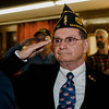 Veteran Bob Haskell salutes during the Veterans Day ceremony at Leominster City Hall on Friday morning. SENTINEL & ENTERPRISE / Ashley Green