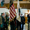 Leominster Veterans Color Guard posts the colors during the Veterans Day ceremony at Leominster City Hall on Friday morning. SENTINEL & ENTERPRISE / Ashley Green