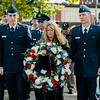 Ryan Voutour and Alex Briendel, USAFR, along with Gold Star Mother Pauline Roberge lay the ceremonial wreath during the Veterans Day ceremonies on Leominster's Monument Square on Friday morning. SENTINEL & ENTERPRISE / Ashley Green