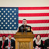 Richard Voutour, Director of Veterans' Services, speaks during the Veterans Day ceremony at Leominster City Hall on Friday morning. SENTINEL & ENTERPRISE / Ashley Green