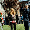 Ryan Voutour, USAFR, and Gold Star Mother Pauline Roberge lay the ceremonial wreath during the Veterans Day ceremonies on Leominster's Monument Square on Friday morning. SENTINEL & ENTERPRISE / Ashley Green