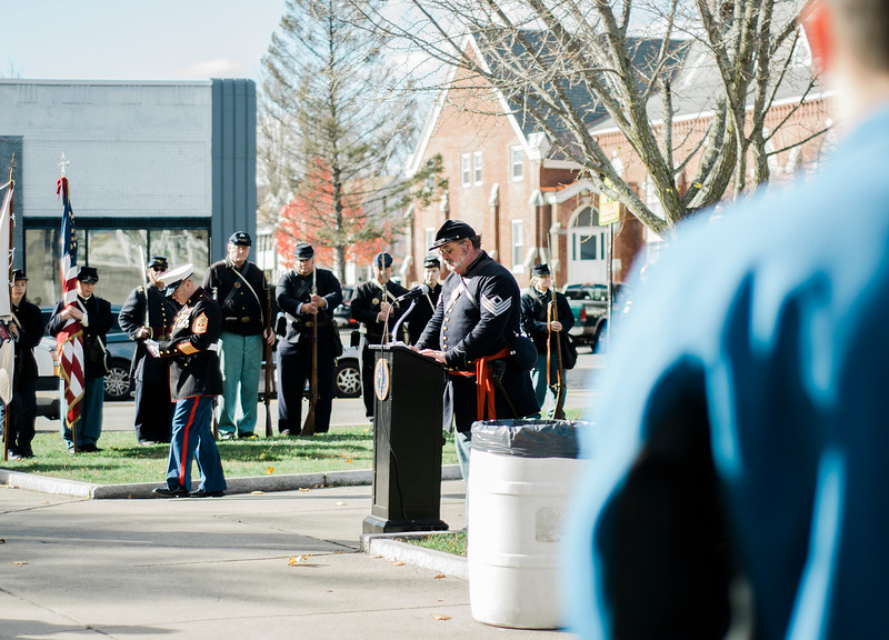 Sgt. Steve Raff, 15th MVI, provide a Veterans Prayer to kick off the Veterans Day ceremonies on Leominster's Monument Square on Friday morning. SENTINEL & ENTERPRISE / Ashley Green
