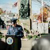VFM Post 1807's Richard Roberge reads 'Flanders Field'  during the Veterans Day ceremonies on Leominster's Monument Square on Friday morning. SENTINEL & ENTERPRISE / Ashley Green