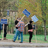 Supporters of Nathan Fonatine campaign outside Ward 2 polling location Frances Drake Elementary School during the Ward 2 City Council special election on Tuesday, May 9, 2017. SENTINEL & ENTERPRISE / Ashley Green